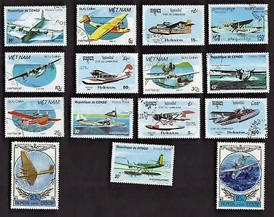 15 All Different Sea-Planes On Stamps