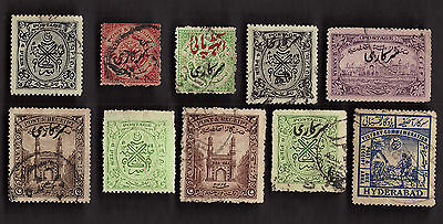 10 All Different HYDERABAD Stamps  (INDIAN STATE)