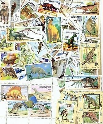 100 All Diff DINOSAURS & PREHISTORIC ANIMAL Stamps &