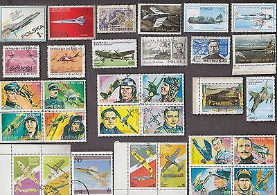 100 All Different War Planes On  Stamps