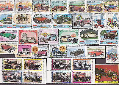 100 All Different Vintage Automobiles On Stamps