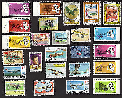 25 All Different Vintage Air Planes On  Stamps