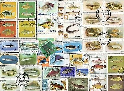 90 All Different FISH & FISHING on Stamps