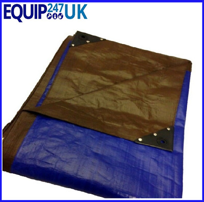Tough 185gsm Waterproof Tarpaulin Ground Sheet Heavy Duty Camping Blue Brown