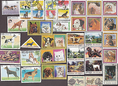 300 All Different DOGS on Stamps