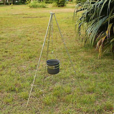 BBQ Grill Tripod Outdoor Camping Campfire Holder Picnic Cooking Pot Tool