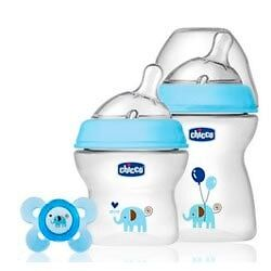 Chicco Pack Azul 2 Biberones Natural Feeling 250 ml + 150 ml + Chupete