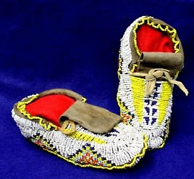 "Vintage 6.75"" Antique Circa 1880-1920 Nebraska Sioux Fully Beaded Moccasins"