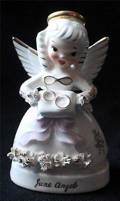 """Vintage 50s NAPCO Porcelain JUNE ANGEL with RINGS 4 1/2""""h  Figurine A1366"""
