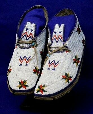 "Vintage 10"" Antique Circa 1910-1930 North Dakota Sioux Hi-Top Beaded Moccasins"