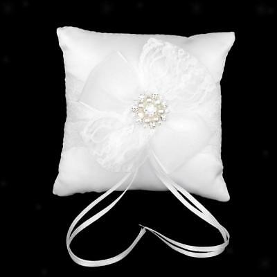 White Lace Bow Crystal Pearl Flower Wedding Ring Bearer Pillow Cushion 6inch