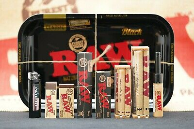 9 Items Raw Black Gold Tray Rolling Paper Combo And Patriot Disposable Lighter