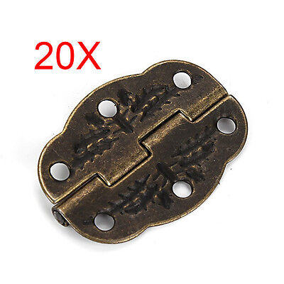 20pcs Vintage Bronze Engraved Designs Hinges Cabinet Drawer Jewelry Box Pack