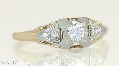 Antique Deco .30ct Genuine Diamond 14k - 18K Two Tone Gold Engagement Ring $875