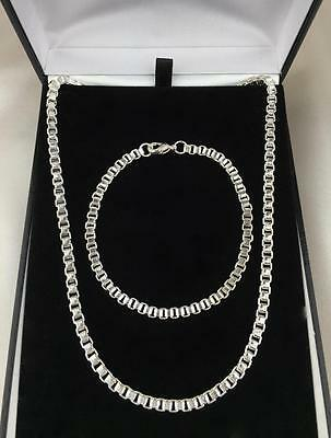 Mens 925 Sterling Silver Bracelet Necklace Set SALE!