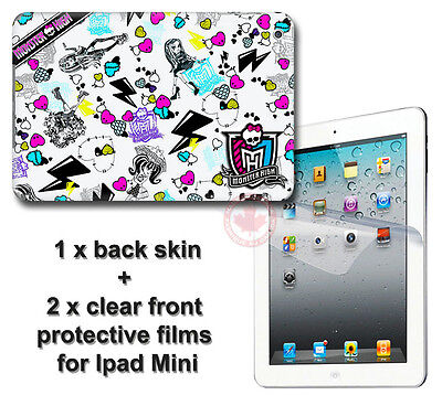 Monster High SKIN STICKER DECAL COVER & 2 front protected films #1 for iPad Mini