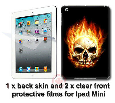 Cool Flamed Skull SKIN STICKER DECAL COVER with 2 protected films for iPad Mini