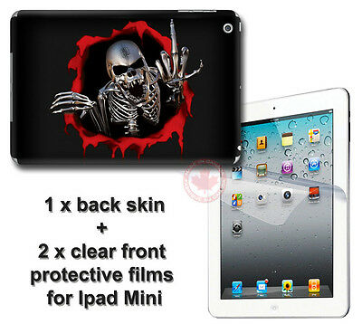Cool Skull Skeleton Back SKIN STICKER DECAL COVER and 2 films for iPad Mini