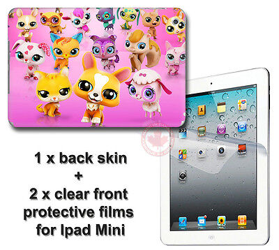 Littlest Pet Shop SKIN STICKER COVER and 2 front protected films for iPad Mini