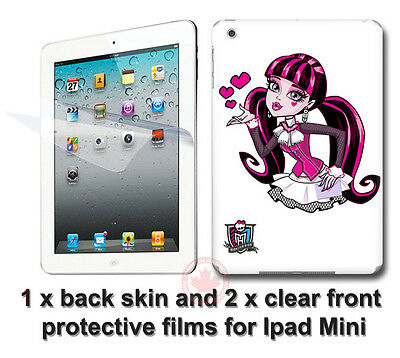 Monster High Draculaura SKIN STICKER COVER and 2 protected films for iPad Mini