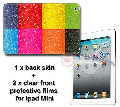 Wet Rainbow Back SKIN STICKER DECAL COVER and 2 protected films for iPad Mini