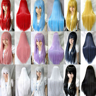 80cm Full Wig Long Straight Wig Cosplay Party Costume Anime Synthetic Hair