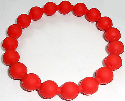 Red Rubber Silicone Ball Friendship Charm Bracelet Wristband Bangle Jewellery