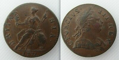 Collectable 1771 King George III First Issue Half-Penny Coin - Tower Mint London