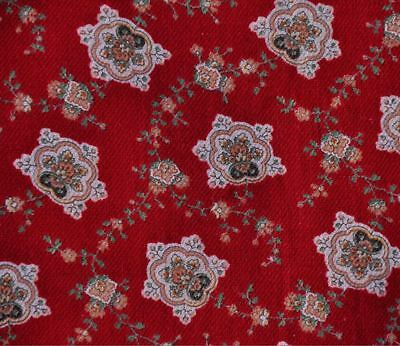 "ANTIQUE 19thc RED FLORAL EARLY VINTAGE COTTON FABRIC  - GORGEOUS - 25.5"" WIDE!"