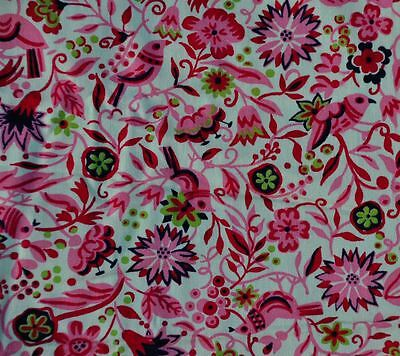 "ANTIQUE 1940-50s PINK FLORAL BIRDS EARLY COTTON FABRIC - SWEET - 34.5"" WIDE!"