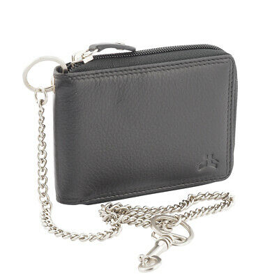 Mens RFID Blocking Biker's Anti Theft Security Genuine Leather Chain Wallet-Ne