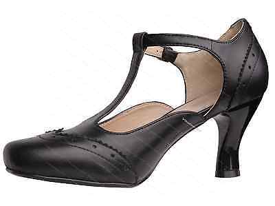 Womens Vintage T strap Heels 1920s Flapper Gatsby Mary Jane Shoes 6 7 8 9 10 11