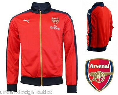 Arsenal FC Puma T7 Stadium Track Jacket  Mens Home Football Tracksuit Red Top