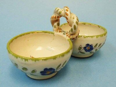 Handpainted Martres Tolosane (France) faience double salt cellar
