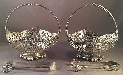 Pair Of Antique English Sterling Silver Sugar Cube Baskets Dated 1906 And Tongs