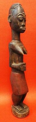 African Carved Wooden Statuette Of A Woman - Baule - Ivory Coast