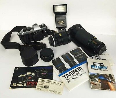 KONICA FT-1 MOTOR 35mm CAMERA PLUS ACCESSORIES