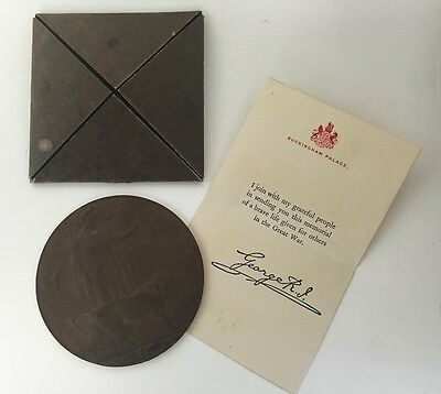 Canadian Ww1 Bronze Memorial Medal With Letter