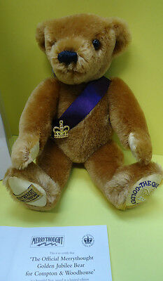 Rare Limited Edition mohair MerryThought Golden Jubilee Bear - New In Box