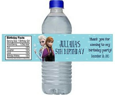 Frozen Elsa & Anna Birthday Party Water Bottle Labels Favors Personalized Custom