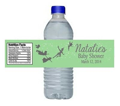Peter Pan Baby Shower or Birthday Party Water Bottle Labels Favors Personalized