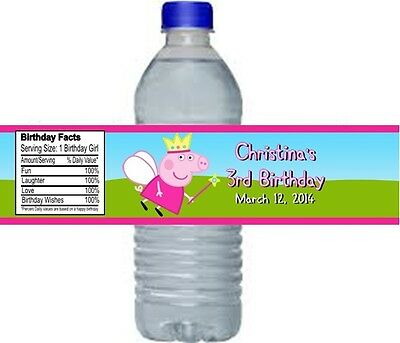 Peppa Pig Birthday Party Water Bottle Labels Favors Personalized Custom