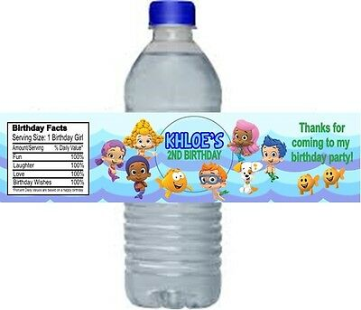Bubble Guppies Birthday Party Water Bottle Labels Favors Personalized Custom