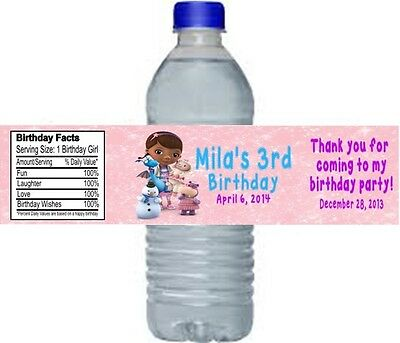 Doc McStuffins Birthday Party Water Bottle Labels Favors Personalized Custom