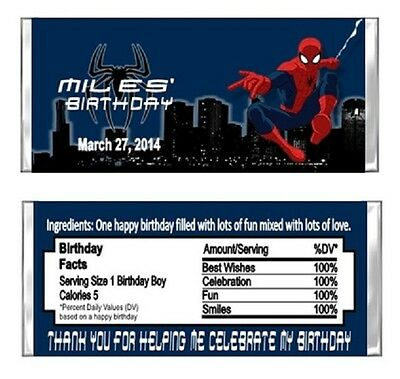 Spiderman Birthday Party Candy Wrappers Favors Personalized Custom