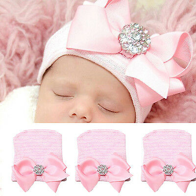 Newborn Baby Girl Boy Infant Striped Cap Hospital Soft Beanie Bow Rhinestone Hat