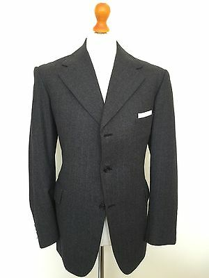 Mens Vintage Bespoke Flannel Three Piece Suit Edwardian 1960's Style Size 42