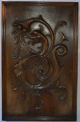 French Black Forest Gothic Carved Wood Panel Frame Picture Chimera Griffin