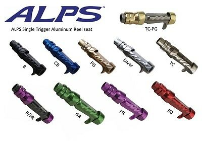 ALPS Aluminum Single Trigger Reel Seat Dual Locking 4 Sizes, 10 Color options
