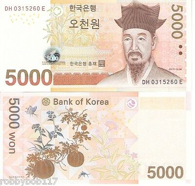 KOREA South 5000 Won Banknote World Paper Money UNC Currency Note p55a Bill